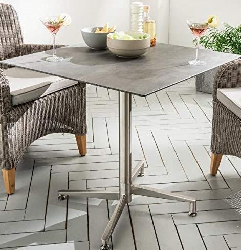 Destiny Tisch Loft Gartentisch 70 x 70 Edelstahl HPL Platte Gastrotisch Esstisch (7654913)