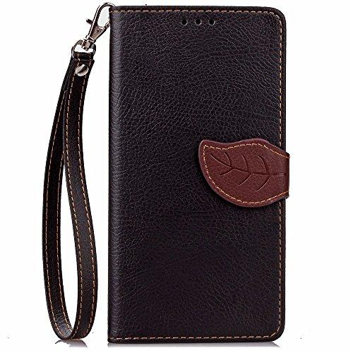 [A4E] Handyhülle passend für LG G5 Kunstleder Tasche, Flip Cover, seitlicher Magnetverschluss, Standfuß, Kreditkartenfächer, Handschlaufe mit floralem Blatt Muster (schwarz, braun)