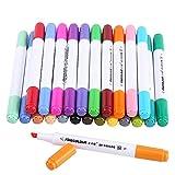 Finecolor Marker Stylos Marqueurs de l'Eau Art Doubles Pointes Stylos à Deux Pointes d'Esquisse d'Art Lavable à l'Eau pour Peintre Surlignage 12/24/36 Couleurs EF201(24 couleurs)
