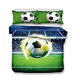 Andrui Bettwäsche Bettbezug 3D Fußball Mehrfarbig Bettbezug und Kissenbezug Easy Care Kinder Jungen Teenager Männer Bettwäsche Einzelbett Doppelbett King Size (Style 5#, 220x240cm)