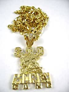 SOULJA BOY Iced Out S.O.D. Money Gang Figaro Chain SM Gold