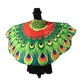 ❤️Pfau Kostüm, Sunday Frauen Schmetterling Flügel Schal Schals Weiches Gewebe Schmetterlingsflügel Fee Damen Nymphe Pixie Poncho Kostüm Zubehör für Show/Daily / Party (197 * 125CM, Rot)
