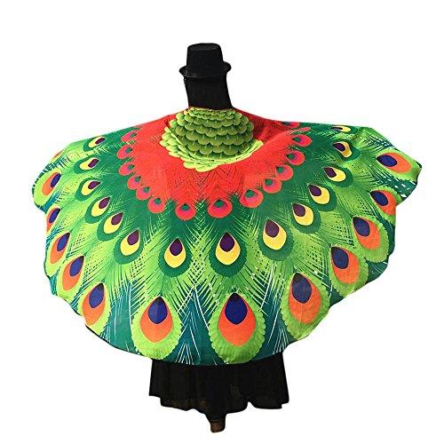 Overdose Frauen 197*125CM Weiche Gewebe Schmetterlings Flügel Schal feenhafte Damen Nymphe Pixie Kostüm Zusatz (197*125CM, Rot1) (Baby Mädchen Eule Kostüme)
