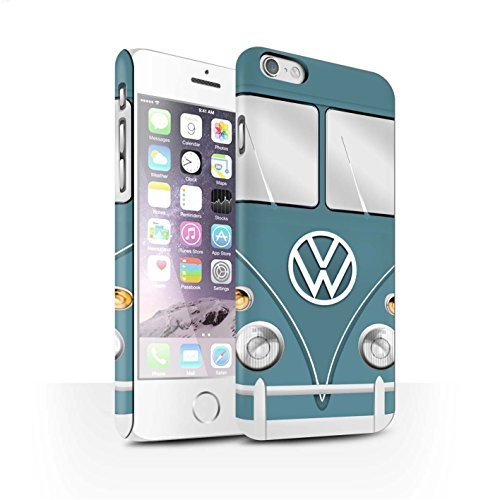 STUFF4 Matte Snap-On Hülle / Case für Apple iPhone 6 / Perlweiss Muster / Retro T1 Wohnmobil Bus Kollektion Blau Taube