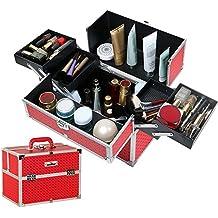 Unho® Maletín Maquillaje Profesional de Aluminio, Neceser Organizaodor Maquillaje Grande, Caja de Cosméticos con para Viaje Artistas Maquilladores Profesionales, 37 × 22,5 × 27cm