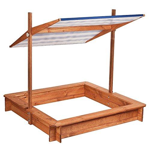 Impag® Sandkasten Sandkiste wetterfest lasiert mit weiß / blauem Dach und Abdeckung 120 x 120 cm - Inkl. Folie gegen Unkraut