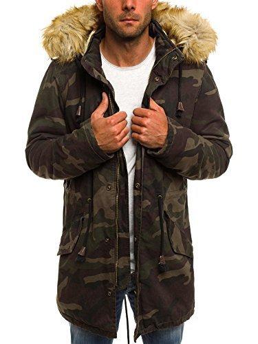 OZONEE Herren Winterjacke Parka Mantel Jacke Kapuzenjacke Wärmejacke Wintermantel Mantel NATURE 4984 DUNKEL-CAMO 3XL (Camo Kapuzenjacke)