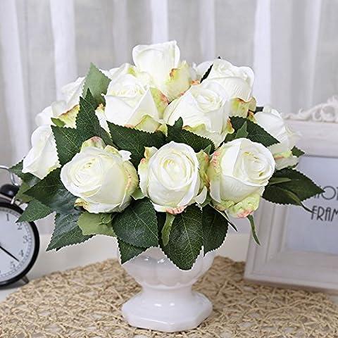 Alta emulazione Kit roses Continental living room bedroom fiori artificiali fiori di seta ristorante è decorato bouquet di fiori ,30*28cm,3,30*28cm specchio