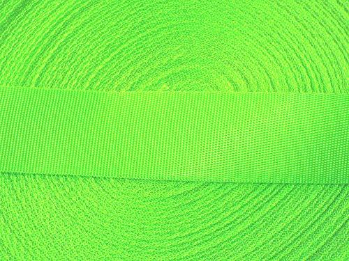 Großhandel für Schneiderbedarf 5 m Gurtband/Ripsband 30 mm neon grün feine Struktur Neon-grüner Reißverschluss