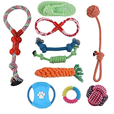 YUMOMO Dog Rope Toys, 10 PCS of Puppy Pet Braided Rope Toys Set, Puppy Chew Durable Interactive Cotton Toys Dental Health Teeth Cleaning