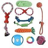 flagest Set di 10 corde per cani - Set di giocattoli in corda di cotone - Kit di pulizia per denti da denti molari Kit per cani di taglia piccola e media