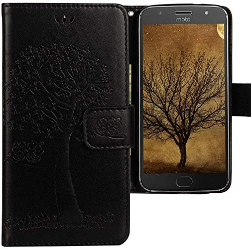CLM-Tech kompatibel mit Motorola Moto G5 Plus Hülle Tasche aus Kunstleder, Leder-Tasche Lederhülle, Baum Eule schwarz