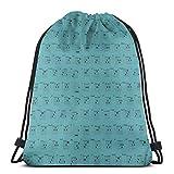 Gitarrenakkorde Teal_1 Drawstring Rucksack Rucksack Umhängetaschen Leichte Sporttasche zum Wandern Yoga Gym Schwimmen Travel Beach