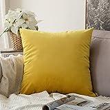 MIULEE Velluto Morbido Soild Decorativo Quadrato Federa Cuscino Set Custodia per Divano Letto Auto 60 * 60 cm 1 Piece Limone Giallo