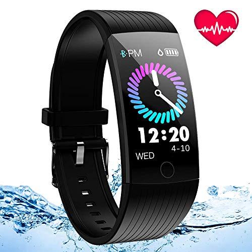 Montre Connectée, Bracelet Connecté Cardiofréquencemètre Femmes Homme Tracker d'Activité Écran Coloré Cardio Etanche IP67 Sports Smart Watch Podomètre Smartwatch Poignet Marche