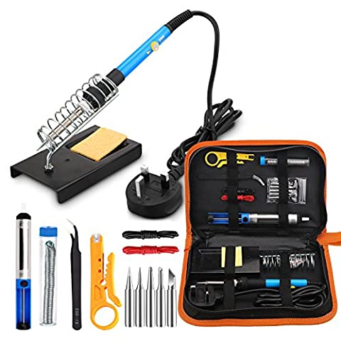 Soldering Iron Kit Electronics, Welding Irons Tool 60W Adjustable Temperature Soldering-iron Gun Kits with 5 PCS Soldering Tips, Desoldering Pump, Tin Wire Tube, Soldering Iron Stand, Tweezers, Wire Stripper Cutter, 2pcs Electronic