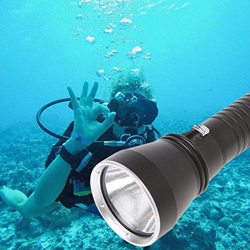 showkingL Tauchlampe, XHP70 White Light 4000 Lumen LED-Tauchlampe, wiederaufladbare wasserdichte Unterwasser-Blitzlampen, 150 Meter Tauchlampe -