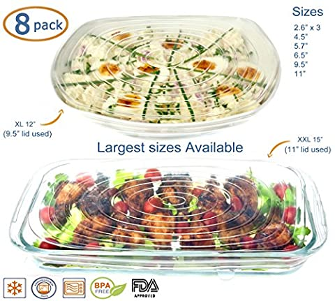 Silicone Stretch Lids 8 Pack (EXCEPTIONAL XXL and XL Size) Covers Food Platters, Serving Dishes, Salad Bowls, Pots, Containers, Jars, Cans
