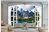 Qqasd Moderne Tapeten 3d Windows Landschaft Hintergrund Wandbilder für WohnzimmerSchlafzimmer Home Decoration-400X290CM