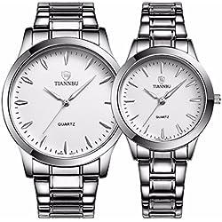 foxqueena-240Titan Stahl Band Simple Fashion Design Paar Paare Handgelenk Uhren Weiß Set von 2