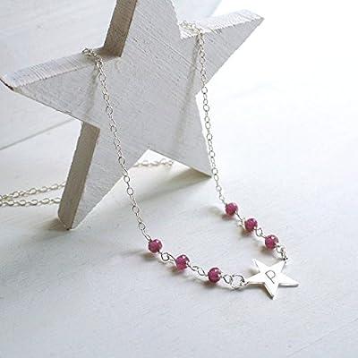 Collier Personnalisé Petite Étoile en Argent Sterling avec des Pierres de Tourmaline Rose, collier étoile, collier pierres de tourmaline rose