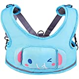 Zicac 3-in-1 Toddler Walking Safety Harness + Portable High Chair + Cart Safety Strap,Cartoon Animal Learning Walkers(Blue)