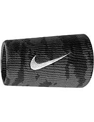 Nike Grigor Dimitrov 2015ATP Master Dri-Fit Double Wide Pro Camo Muñequeras de tenis, Negro/Tumbled Gris/Color Blanco