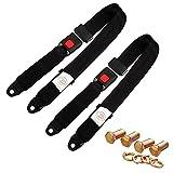 2Pcs Cinturón de Seguridad para Coche Ajustable y Universal cinturón de Seguridad de 2 Puntos para Todos los vehículos Color Negro