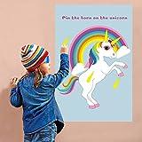 OurWarm Épinglez la corne sur la licorne Jeux de Fête pour les familles avec enfants Jeux de Fête licorne arc-en-ciel anniversaire de parti provisions...