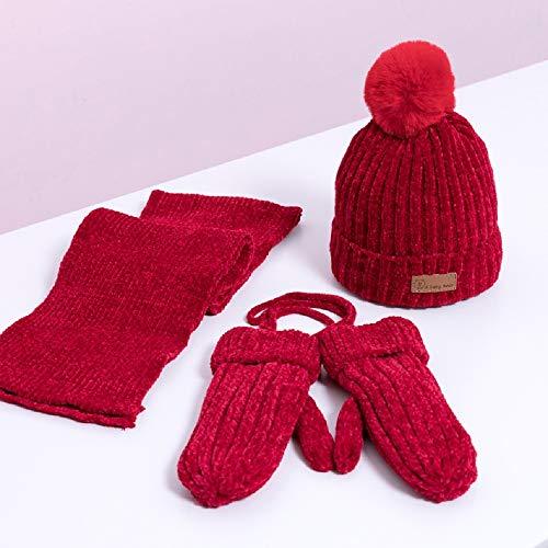 XWH 3Pcs-Kinder Schals Hut Handschuhe Set, Strickmütze Schal Und Handschuhe Weiche Warme Winter Accessoires Plüschfutter Geeignet for Kinder Ab 3 Monaten Bis 3 Jahre Alt (Farbe : #2)