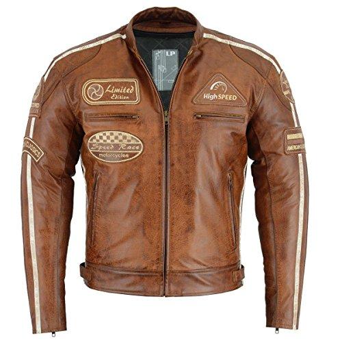 Herren Retro Biker Lederjacke Motorrad Jacke Race Streifen Rockerjacke Chopper 5Xl