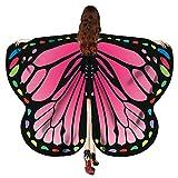 VEMOW Heißer Verkauf Eleagnt Damen Karneval Flügel Kostüm Schmetterling 170 * 140 CM Flügel Schal Schals Nymphe Pixie Poncho Kostüm Zubehör(Hot pink, 170X140CM)
