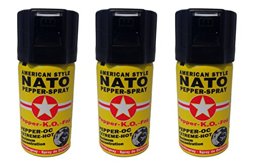 3 Dosen Pfefferspray 40ml NATO OC Pfeffer KO Spray Selbstverteiligung Abwehrspray MADE IN GERMANY