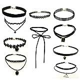 Swallowuk Damen 10 Pc Stück Gothic Choker Halskette Schwarz Necklace Kombinationen Anhänger Schlüsselbein Kette (2)
