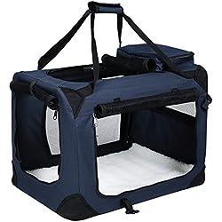Songmics 60 x 40 x 40 cm Bolsa de transporte para mascotas Transportín plegable para perro Portador Tela Oxford azul oscuro PDC60Z