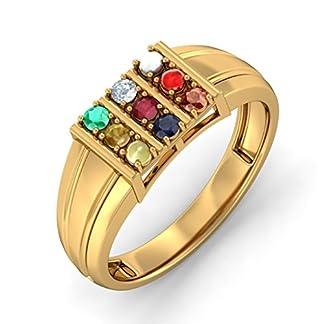 BlueStone 14k Yellow Gold and Diamond Raj Darpan Ring