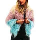VRTUR Damen Warm Mantel Faux Pelz Jacke Gradient Farbe Parka Oberbekleidung Outwear Wintermantel