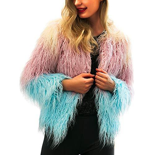 Yazidan Damen Mantel Mode Warm Strickjacke Kunstpelz Jacke Winter Farbverlauf Parka Oberbekleidung...