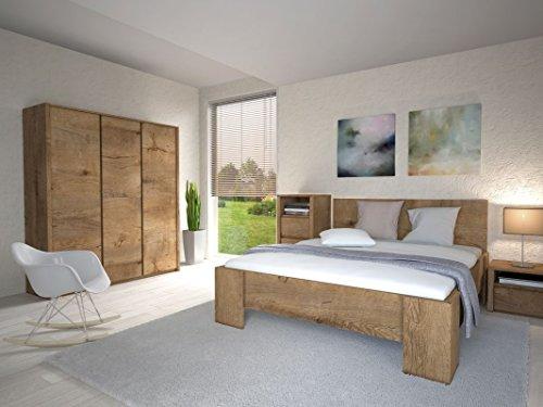 Schlafzimmer Komplett - Set B Selun, 4-teilig, Farbe: Eiche Dunkelbraun