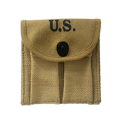 World War Replica WWII-US-webbing-M1-Carbine-Khaki-Canvas-Magzine- Ammo Ammunitions-Cartridge-Pouch-Fit Around- Buttstock-Stock-Pistol Waist-Belt (Pack of 5) (M1 Airsoft Gun)