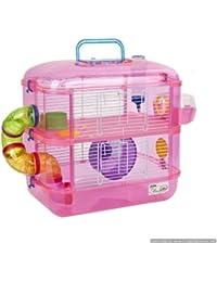 Jaula para hámster, 2 pisos, con rueda, color rosa