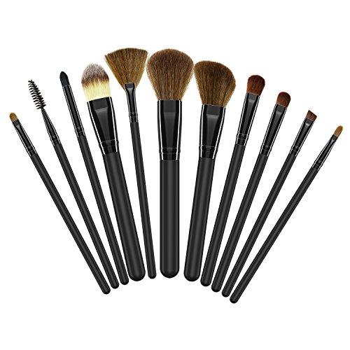 BESTOPE Cepillo de Maquillaje Kit de 11 Piezas Pinceles de Maquillaje Profesional para Cara Sombra Delineador de Ojos Set de Cepillo de Fundación con Polvo de Crema Líquida Kit de Cepillo Cosméticos