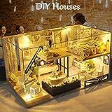 Ritapreaty DIY Dollhouse monta la piccola casa modello capanna Innovativa casa in legno fatta a mano con copertura antipolvere e movimento musicale