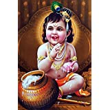 MANIAL Lord Baby Krishna Poster | HD Poster for Room Decor (12x18-Inch, 300GSM Thick Paper, Gloss Laminated, Multicolour)