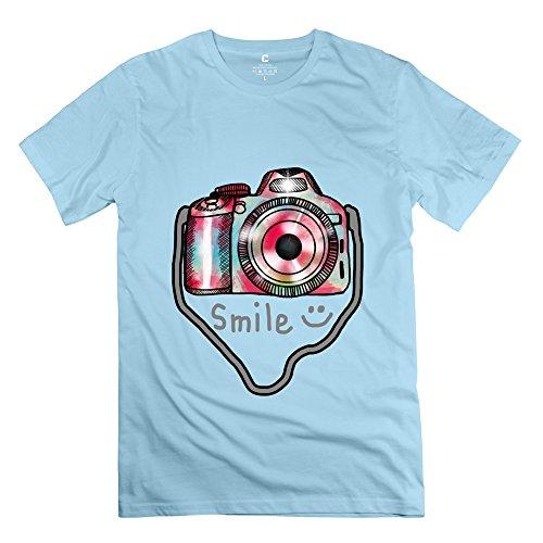 Herren-Kamera Foto T-Shirt Einzigartige Geek T-Shirts X-Large himmelblau