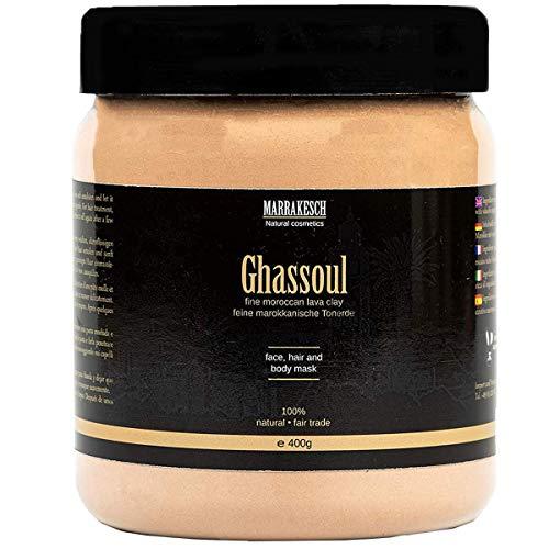 Ghassoul marokkanische original Wascherde Tonerde Lavaerde Lava Clay für Haar Shampoo Körperpflege Gesichtsmaske Peeling Sauna Naturkosmetik vegan, ohne Tenside | fein 400g -