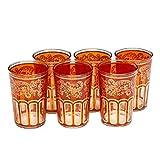 Bicchieri da tè marocchino arancione con un bel design classico marocchino. Dipinta e decorata a mano. Confezione da 6.