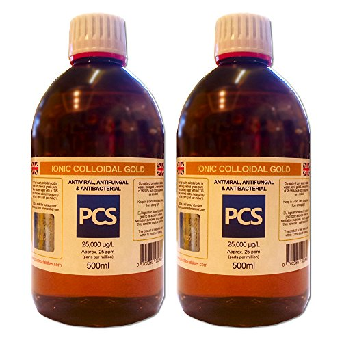 2 x Colloidal Gold 25ppm 500ml (Includes 1st Class P&P!) [2 For 1 Deal] Test