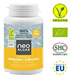 Supplément de curcuma et de spiruline | Anti-inflammatoire naturel | Production 100% biologique | Effet anti-inflammatoire et antioxydant| 350 mg par capsule | 120 capsules par contenant | Neoalgae