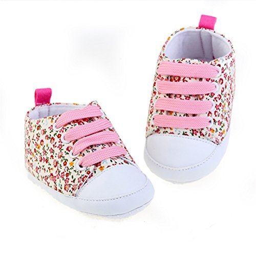 Zhhlinyuan Baby Breathable Canvas Sneaker Antiskid Soft Cute Casual Toddler Shoes Pink